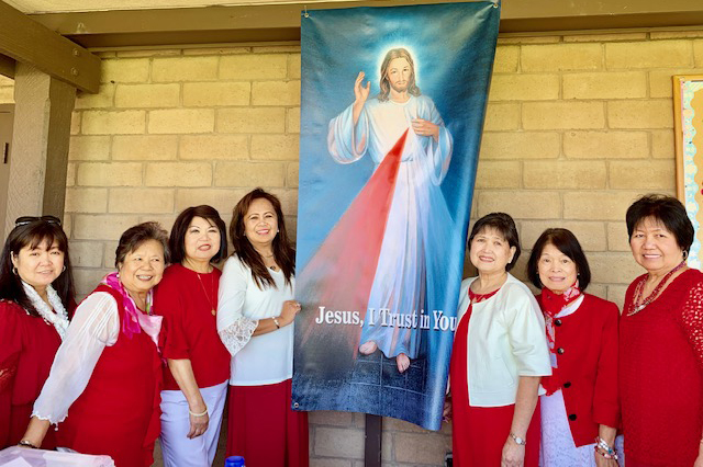 Divine Mercy Banner and members