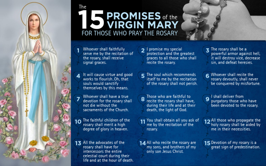 15 Promises of the Virgin Mary for those who pray the Rosary